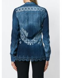 Ermanno Scervino - Blue Printed Collarless Shirt - Lyst