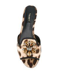 Dolce & Gabbana - Multicolor Embellished Flat Sandals - Lyst