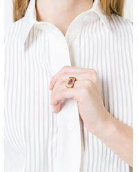 Alison Lou - Metallic Ruby Lips Bar Ring - Lyst