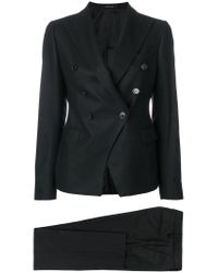 Tagliatore - Black Double-breasted Trouser Suit - Lyst