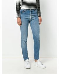 Re/done Blue Distressed High Rise Jeans