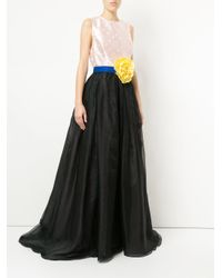 Carolina Herrera - Black Flower Brooch Ball Gown - Lyst