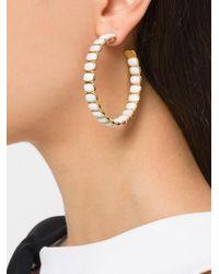 Ivi - White Maghlia Toy Hoop Earrings - Lyst
