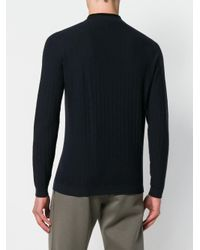 Giorgio Armani - Blue Herringbone Knit Sweater for Men - Lyst