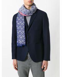 Bally | Blue Geometric Pattern Scarf for Men | Lyst