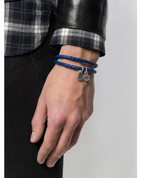 DIESEL - Blue Braided Logo-charm Bracelet for Men - Lyst