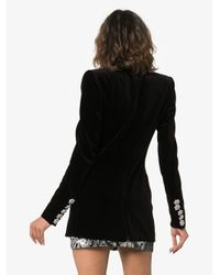 Alexandre Vauthier - Black Crystal Button Double Breasted Cotton Jacket - Lyst