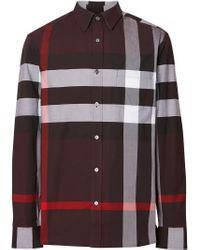 Burberry - Brown Chemise à carreaux for Men - Lyst