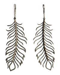 Rosa De La Cruz - Metallic Diamond Feather Earrings - Lyst