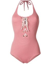 LoveStories - Pink Lace-up Swimsuit - Lyst