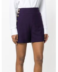Chloé - Purple High-waisted Buttoned Shorts - Lyst