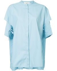 Ports 1961 - Blue Mandarin Collar Layered Shirt - Lyst