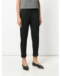 Pleats Please Issey Miyake - Black Pleated High Waisted Trousers - Lyst