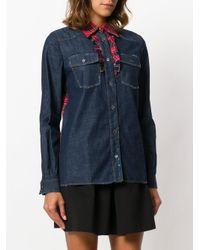 Miu Miu - Blue Tartan Trimmed Denim Shirt - Lyst