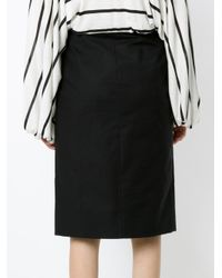 Andrea Marques - Black Buttoned Straight Skirt - Lyst