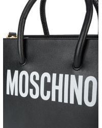 Moschino - Black Logo Print Shoulder Bag - Lyst