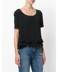 Boutique Moschino - Black Frilled Hem Shortsleeved Blouse - Lyst