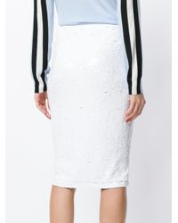 P.A.R.O.S.H. White Sequin Embellished Tube Skirt