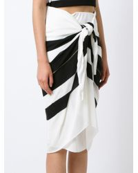 Osklen - Black Striped Midi Skirt - Lyst