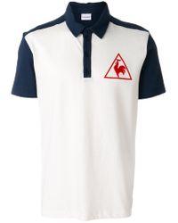 Le Coq Sportif White Tricolour Tennis Polo Shirt for men