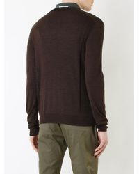 Cerruti 1881 - Brown V-neck Top for Men - Lyst