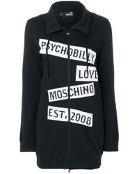Love Moschino - Black Printed Zip-up Sweatshirt for Men - Lyst