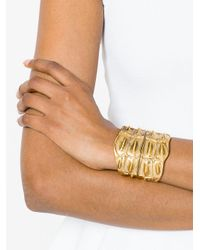 Saint Laurent - Metallic Opyum Crocodile Textured Cuff - Lyst