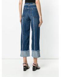 DIESEL - Blue Frayed Seam Wide Leg Jeans - Lyst