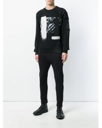RH45 - Black Distressed Printed Sweatshirt for Men - Lyst