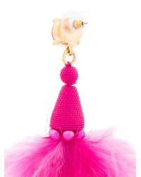 Oscar de la Renta - Pink Maribou Feather Earrings - Lyst