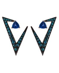 Nikos Koulis - Blue Geometric Sapphire And Diamond Earrings - Lyst