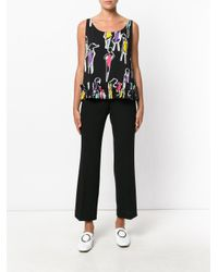 Boutique Moschino - Black Printed Ruffle-trimmed Blouse - Lyst
