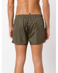 DSquared² - Green Slanted Logo Swim Shorts for Men - Lyst