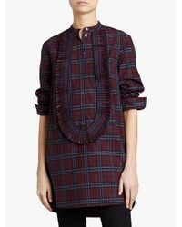 Burberry - Red Bib Front Blouse - Lyst