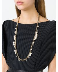 Lanvin - Metallic Pearl Chain Link Necklace - Lyst