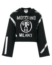 Moschino - Black Question Mark Cropped Hoodie - Lyst