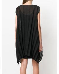 Issey Miyake Cauliflower - Black Asymmetric Ribbed Sleeveless Dress - Lyst