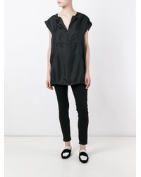 Maison Margiela - Black Hooded Cap Sleeve Top - Lyst