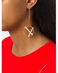 Eshvi | Metallic Cross Circle Earrings | Lyst