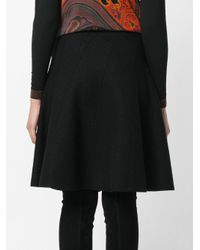 Etro - Black Flared Tailored Skirt - Lyst