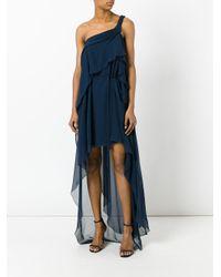 Alberta Ferretti - Blue One-shoulder Draped Dress - Lyst