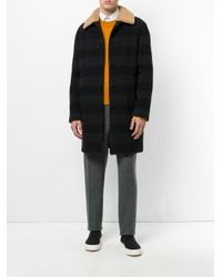 MSGM - Black Contrast Collar Coat for Men - Lyst
