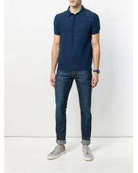Tod's - Blue Textured Polo Shirt for Men - Lyst