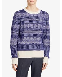 Burberry - Blue Fair Isle Sweater for Men - Lyst
