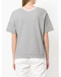 Eleventy Gray V-neck Sweatshirt