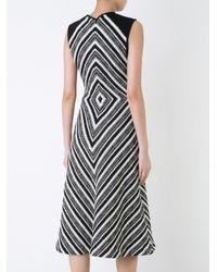 Martin Grant - Black Geometric Pattern Flared Dress - Lyst
