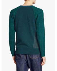 Burberry - Green Cashmere Two-tone Cable Knit Sweater for Men - Lyst