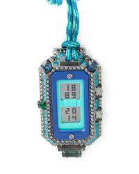 Lanvin - Blue Digital Watch Pendant Necklace - Lyst