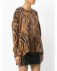 Faith Connexion - Black Tiger Print Longsleeved Blouse - Lyst