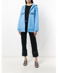 Helmut Lang Blue Zipped Logo Hoodie for men
